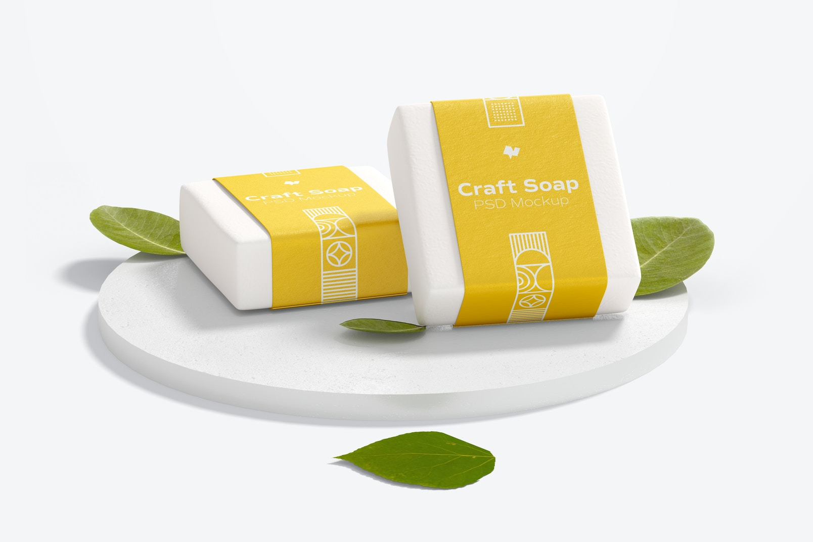 Craft Soaps with Label Mockup with Round Stone Stand