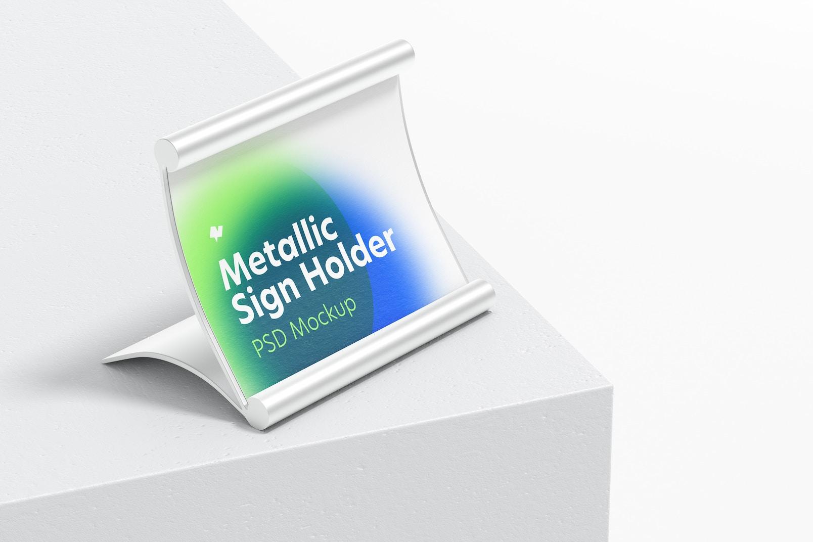 Metallic Table Sign Holder Mockup