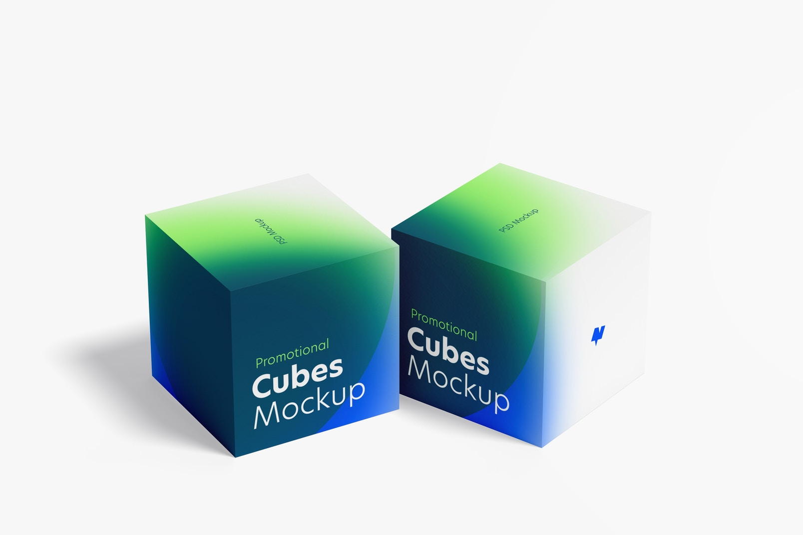 Promotional Cubes Display Mockup, Right View