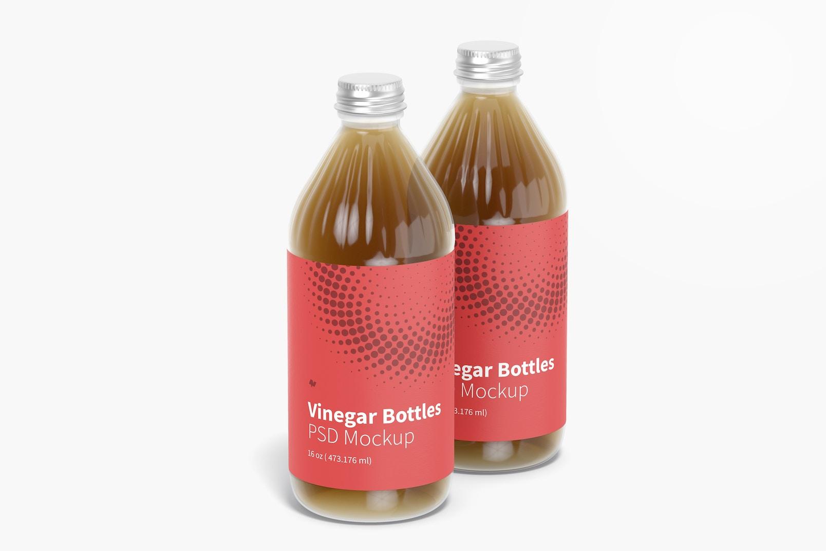 16 oz Glass Vinegar Bottles Mockup