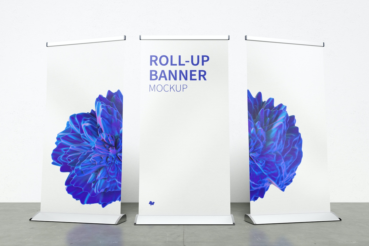 Standing Roll-Up Banners Mockup with a Background Wall 03