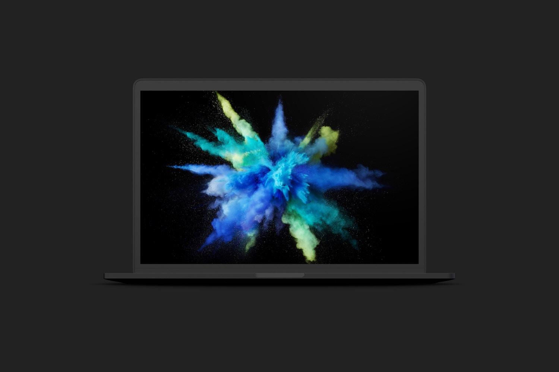 """Maqueta de MacBook Pro de 15"""" con Touch Bar, Vista Frontal, Multicolor"""