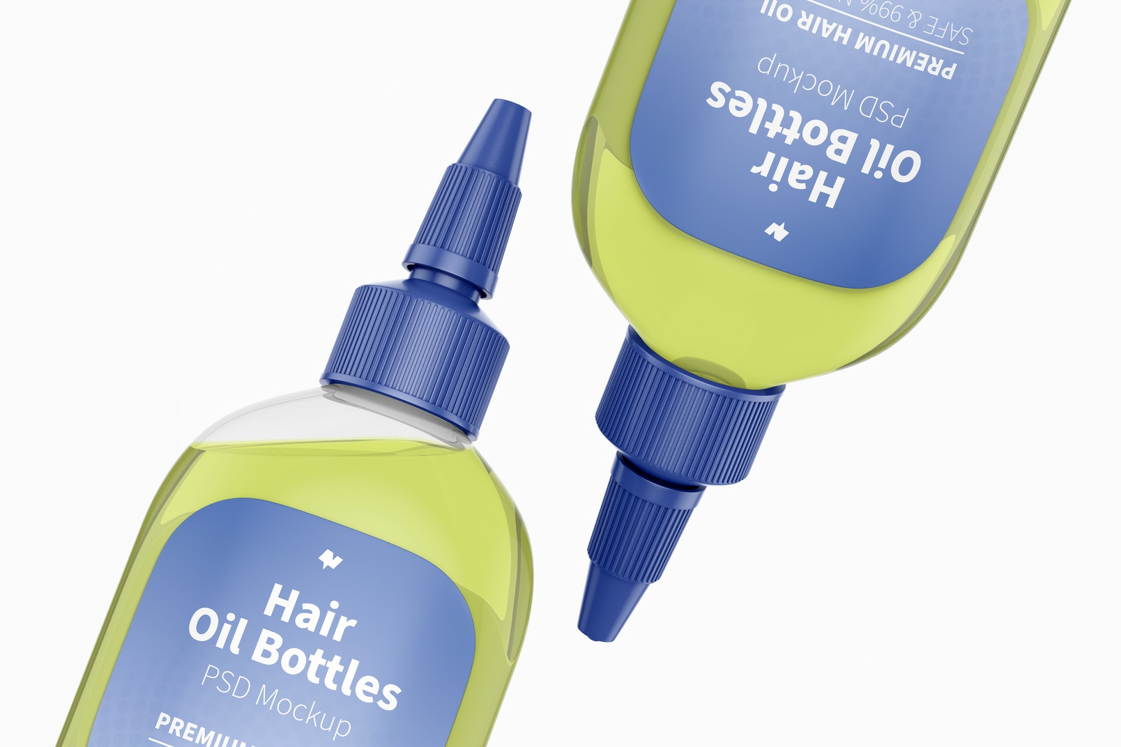 Hair Oil Bottles Mockup, Close Up
