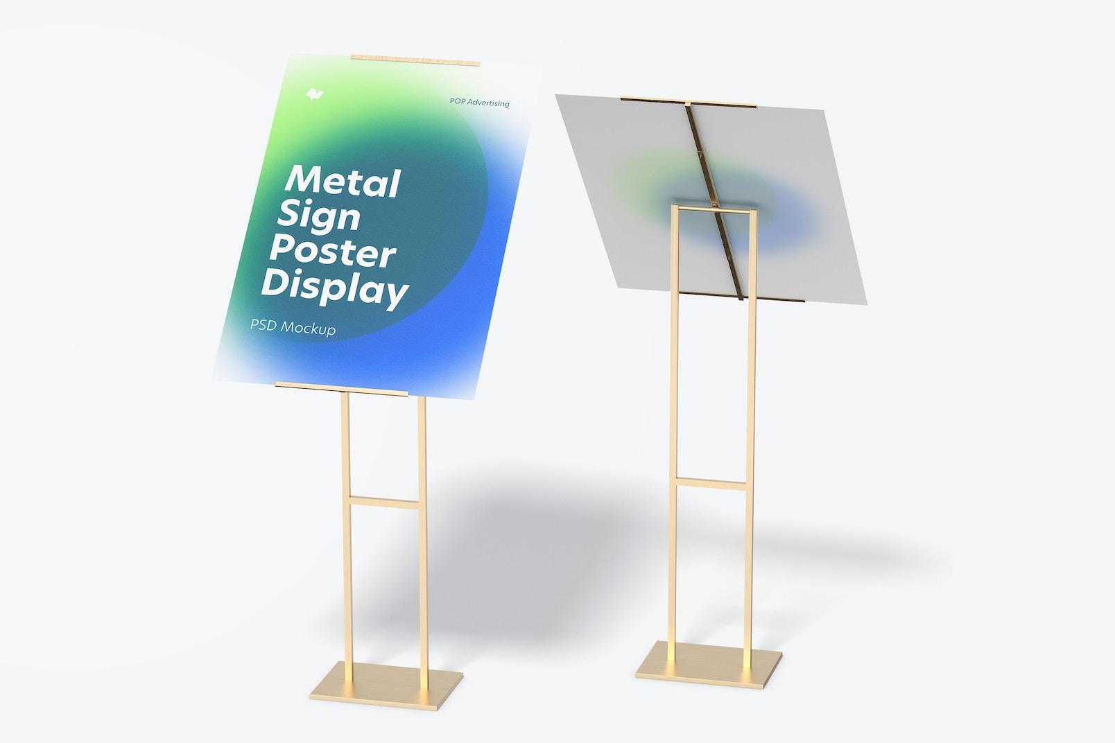 Maqueta de Rompetráficos Metálicos para Poster, Vista Frontal y Posterior