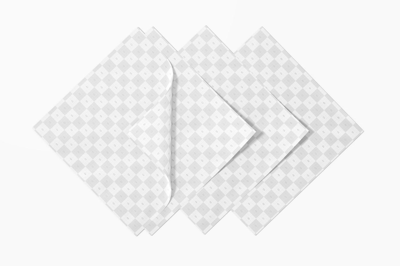 Paper Napkins Mockup, Top View