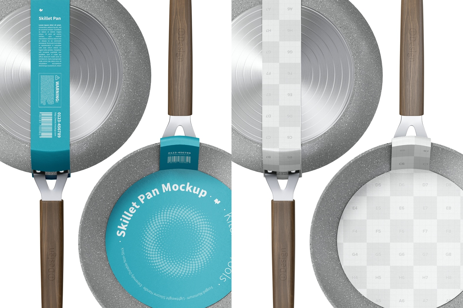 Skillet Pans Mockup, Front and Back View