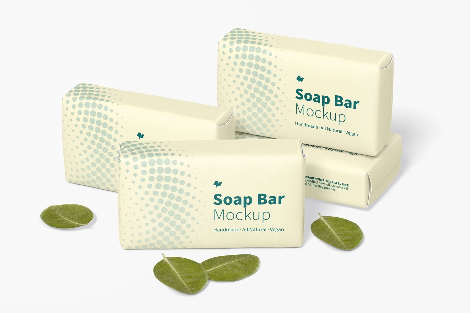 Soap Bars with Paper Package Set Mockup
