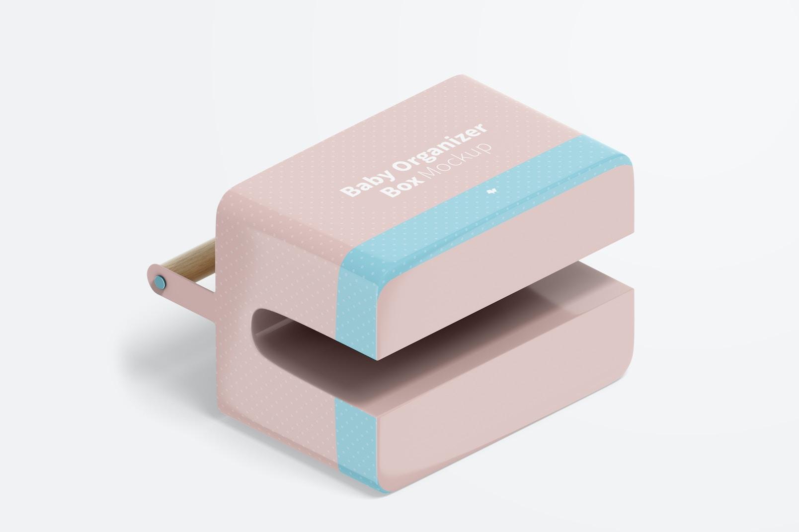 Baby Organizer Box Mockup, Isometric Right View