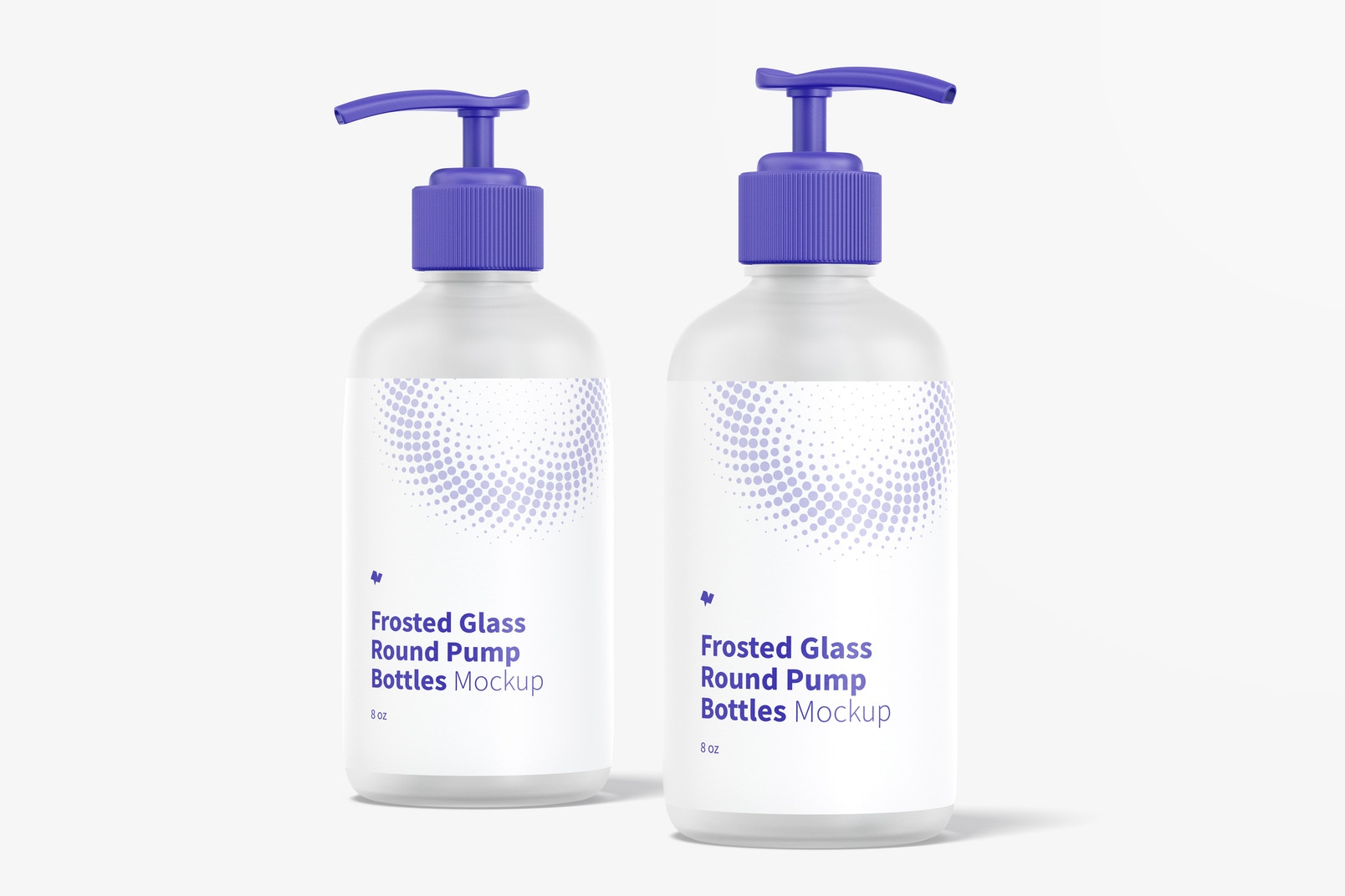 8 oz Frosted Glass Round Pump Bottles Mockup, Front View