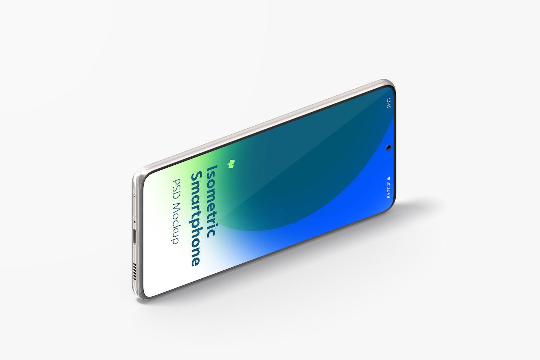Isometric Samsung S21 Mockup, Landscape Left View