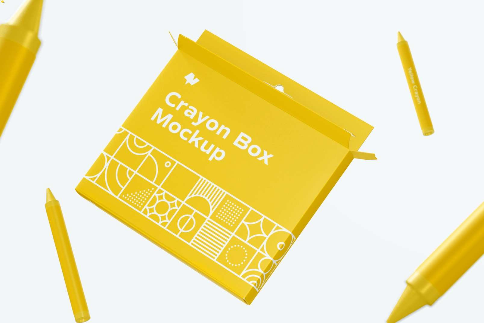 Crayon Box Mockup, Floating