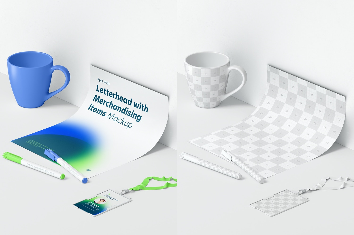 Letterhead and Merchandising Items Mockup, Perspective View