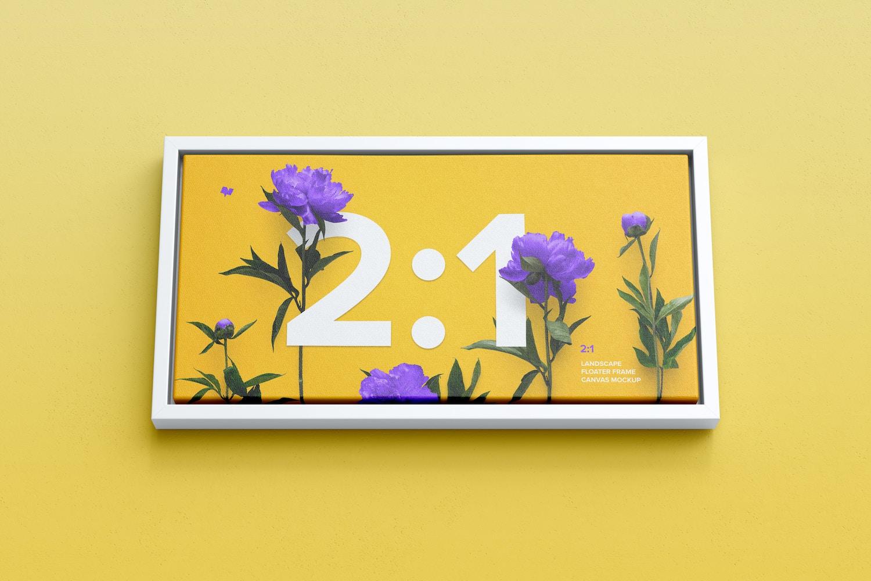 2:1 Landscape Canvas Mockup in Floater Frame, Bottom Front View