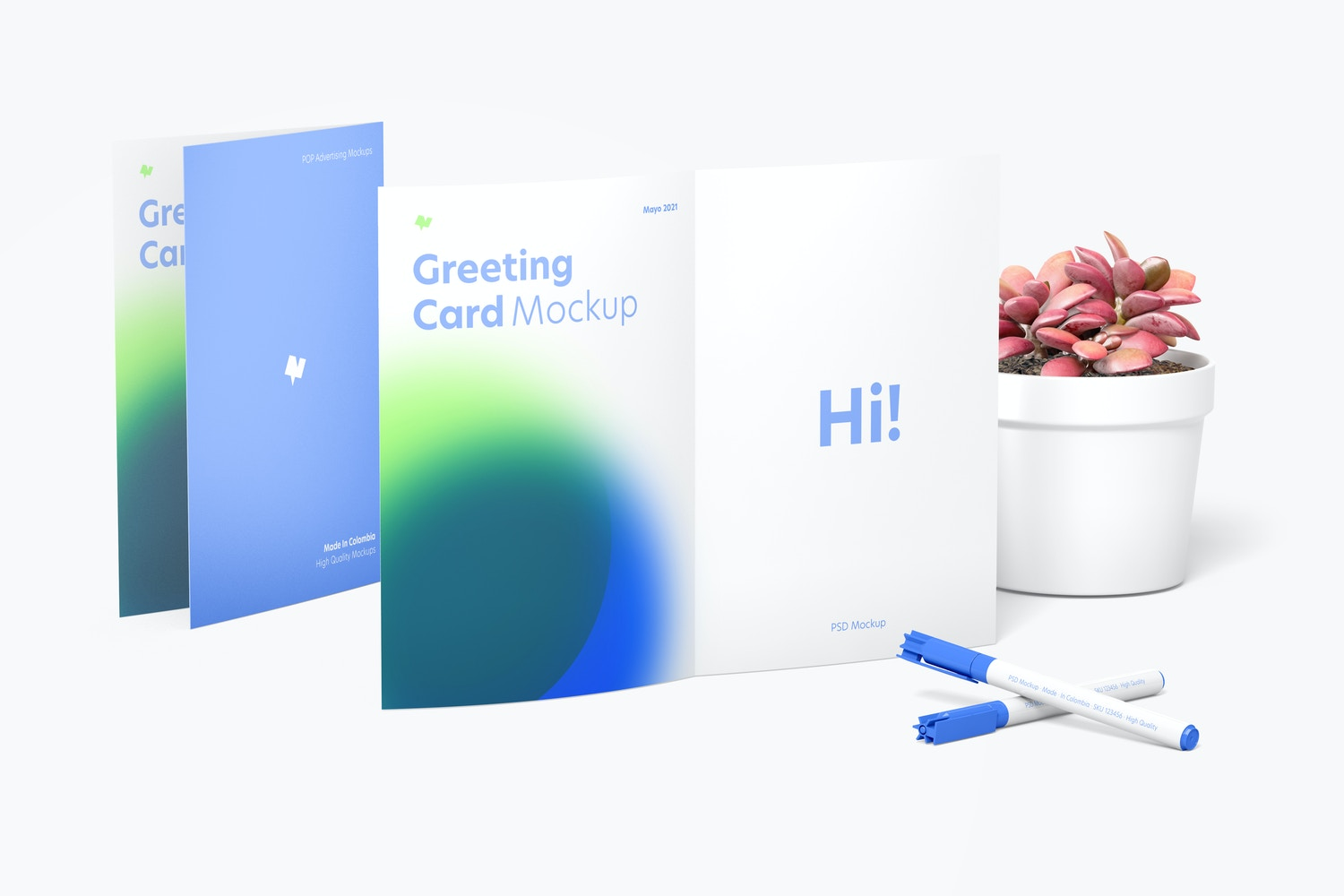 Greeting Card Scene Mockup, Front View