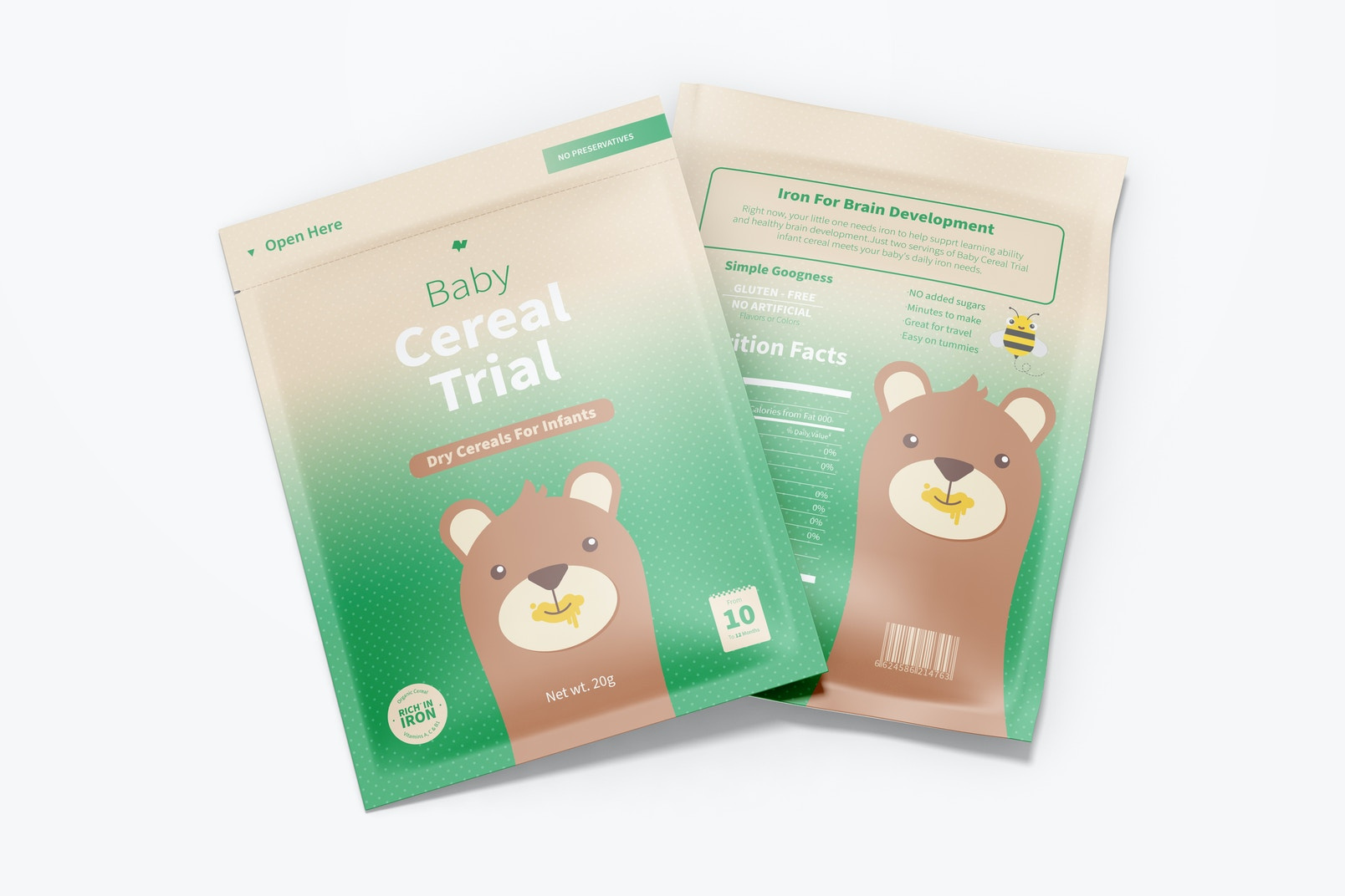 Baby Cereal Trial Pack Mockup, Top View