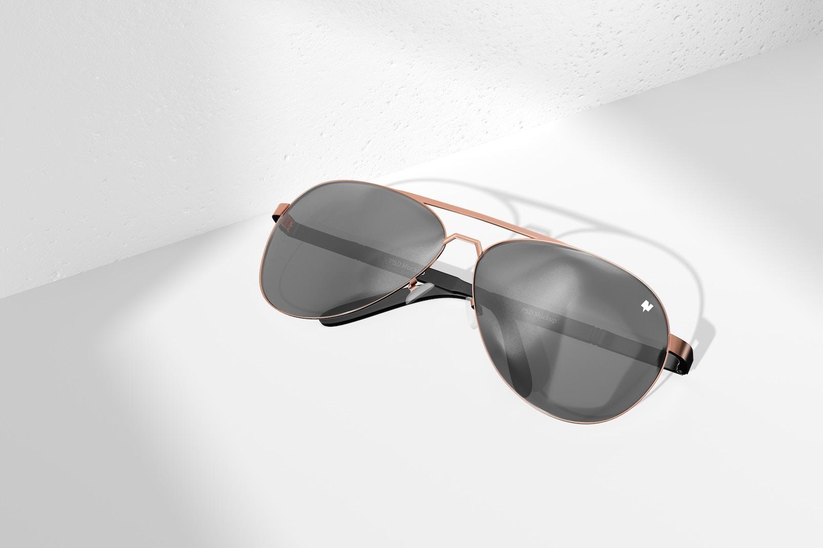 Aviator Sunglasses Mockup, Top View