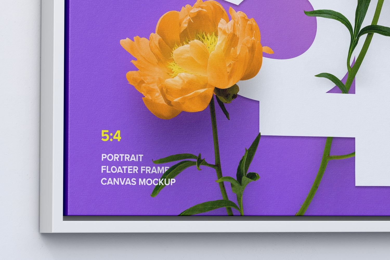 5:4 Landscape Canvas Mockup in Floater Frame, Left View