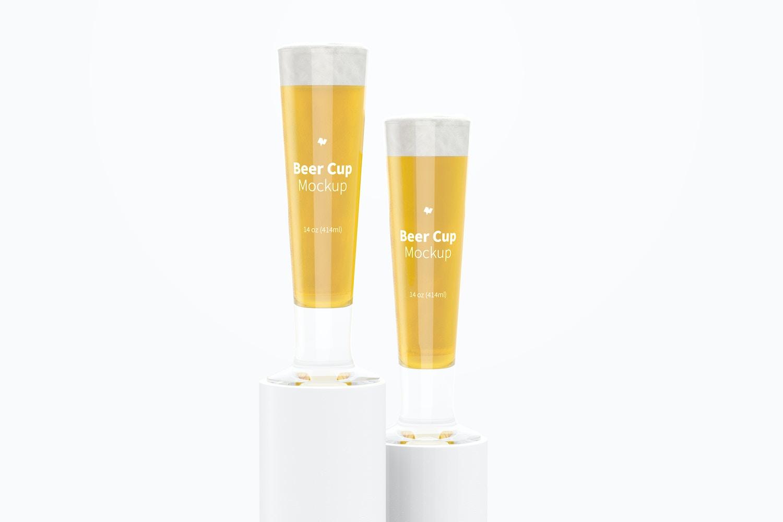 14 oz Glass Beer Cups Mockup