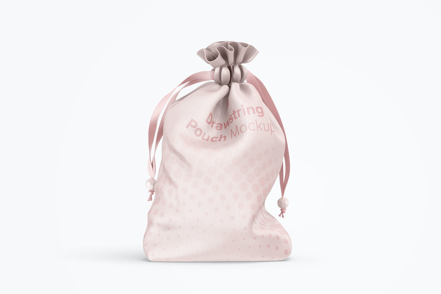 Drawstring Pouch Mockup, Front View