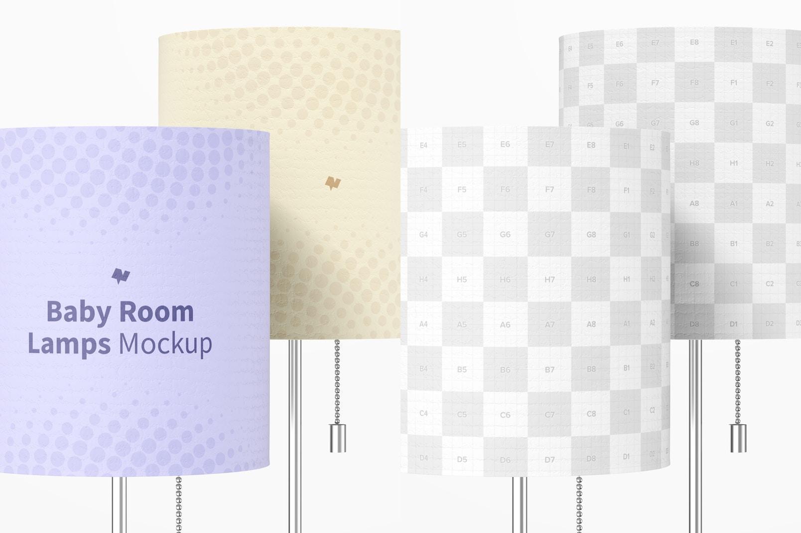 Baby Room Lamps Mockup, Close-up