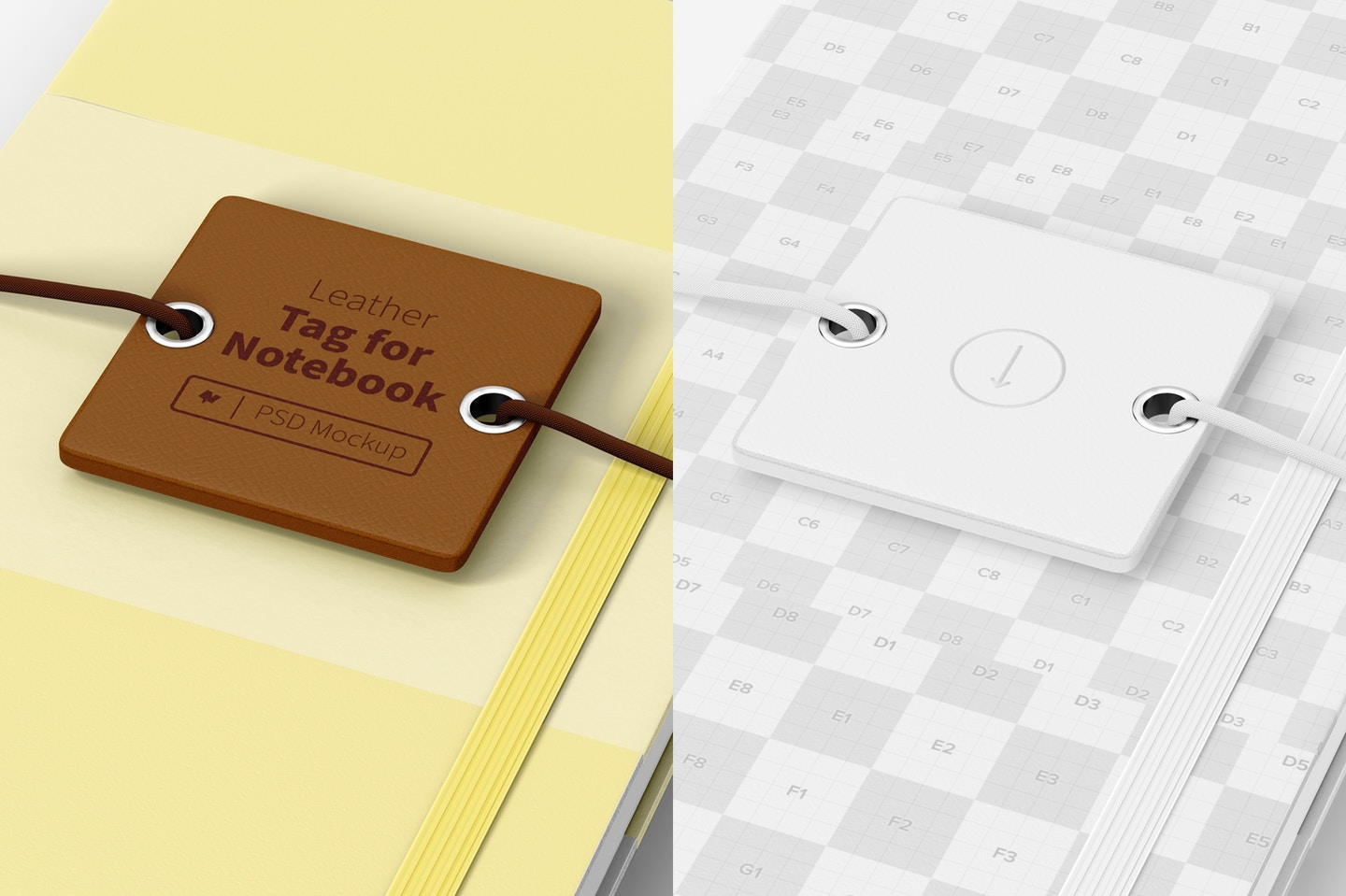 Leather Tag For Notebook Mockup, Close Up