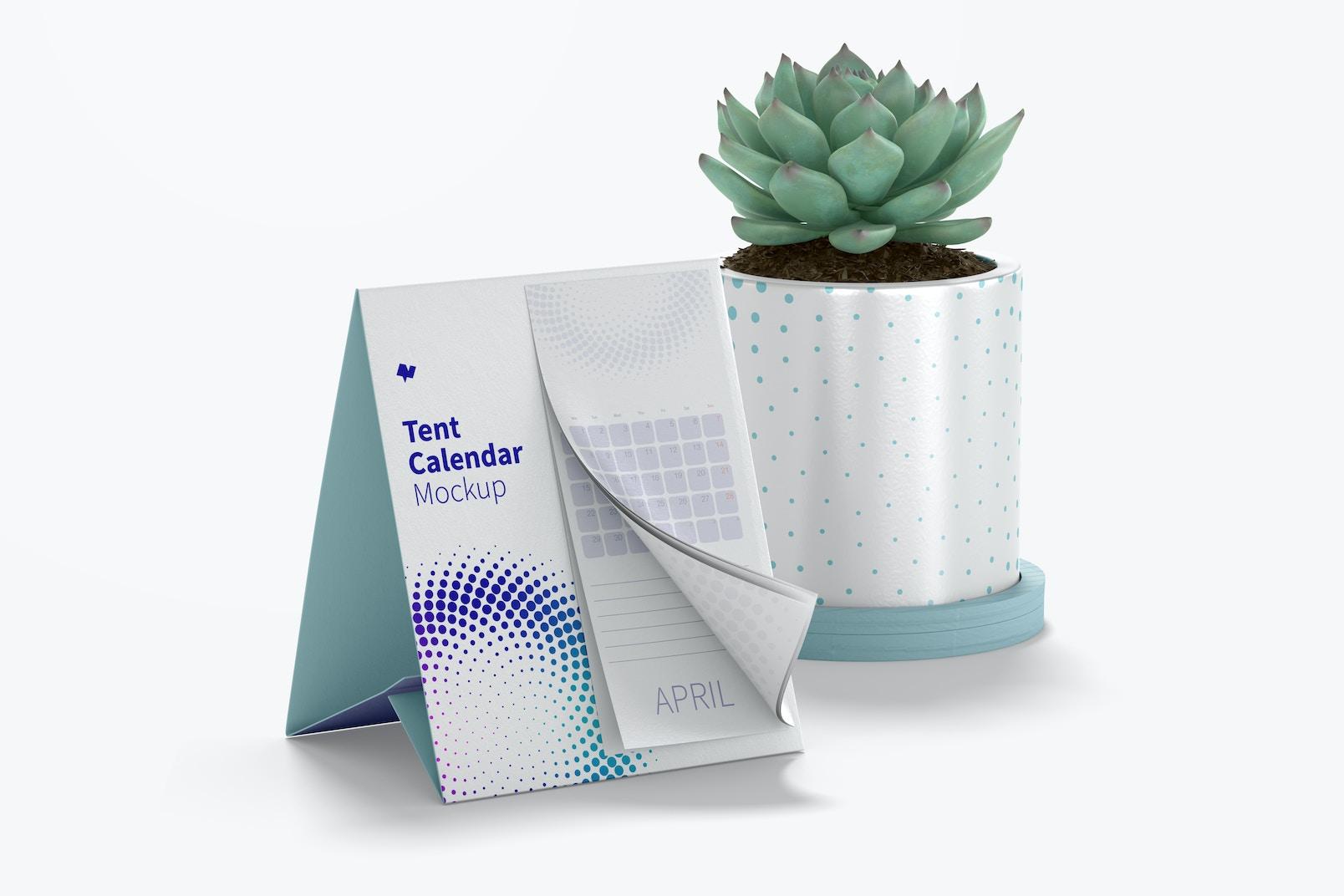 Tent Calendar with Plan Pot Mockup