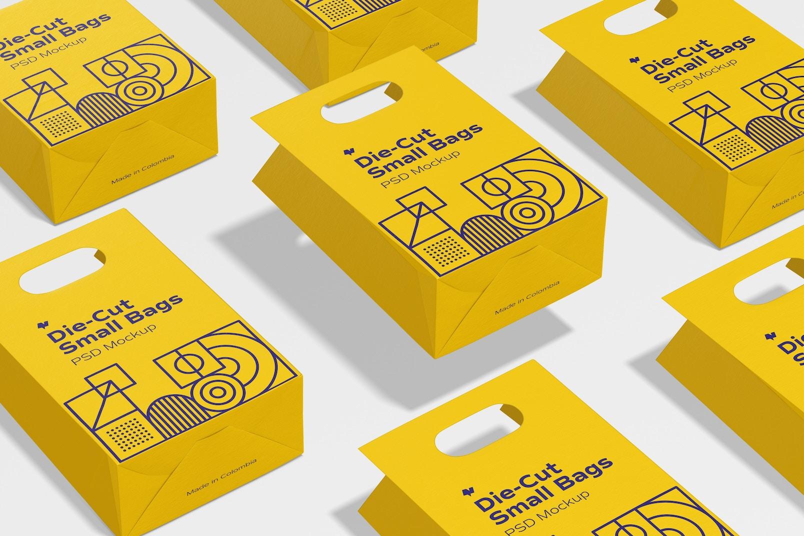Die-Cut Small Paper Bag Set Mockup