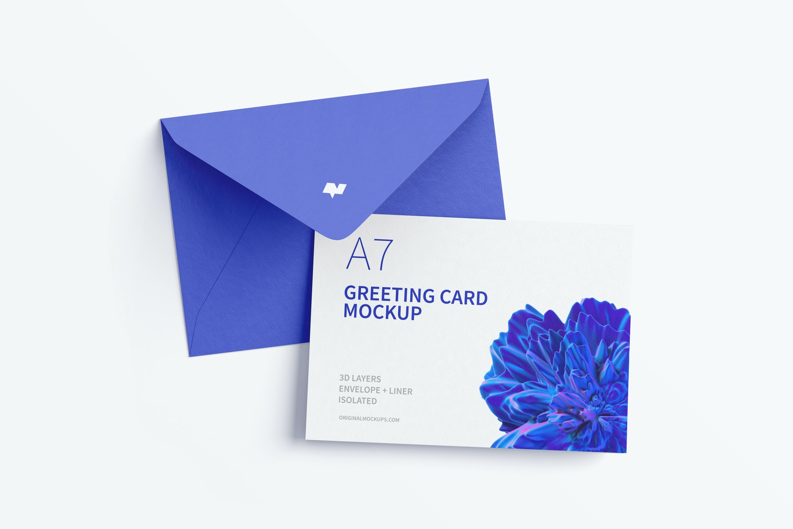 Landscape A7 Greeting Card Mockup with Envelope, Top View
