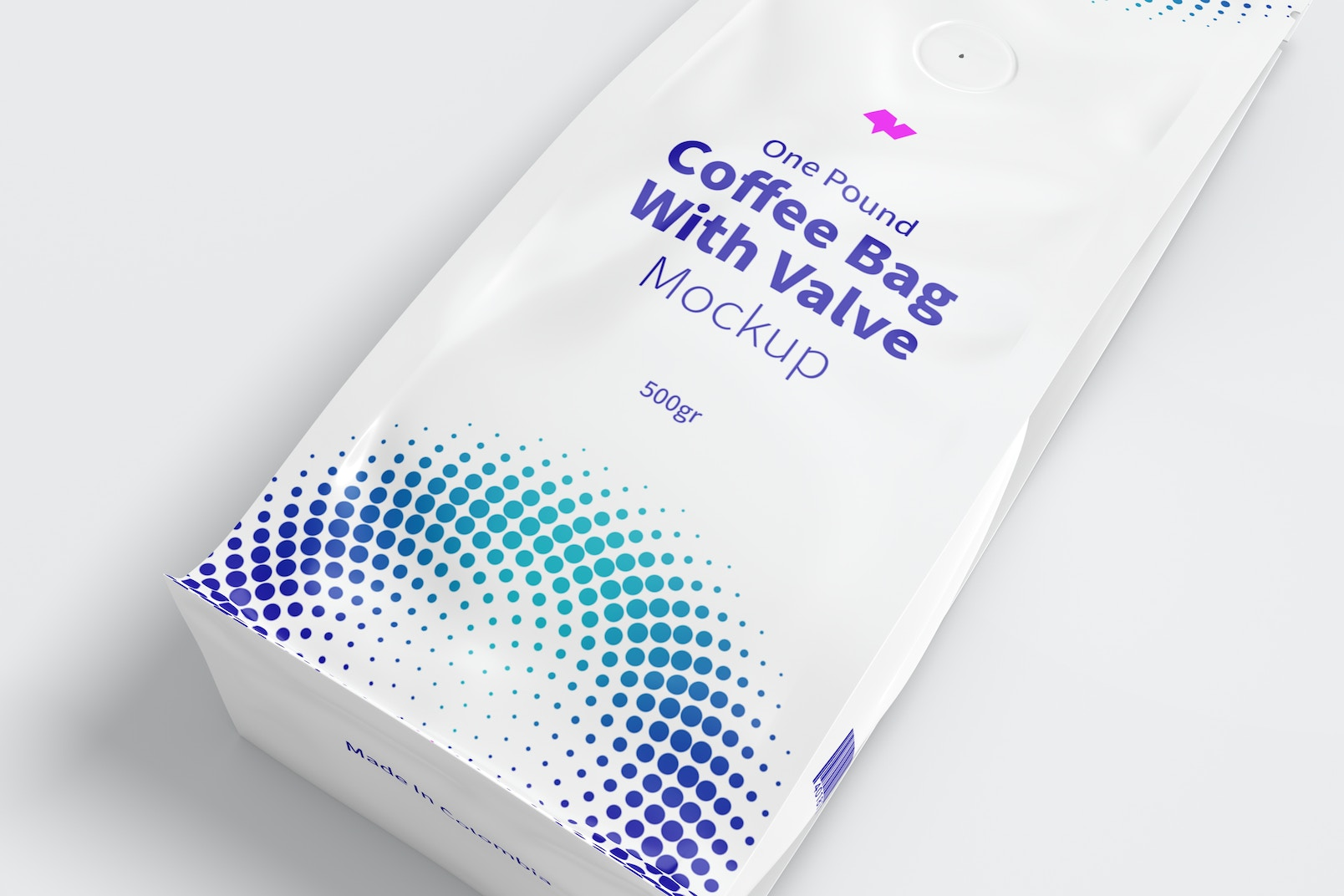 One Pound Coffee Bag with Valve Mockup, Close Up