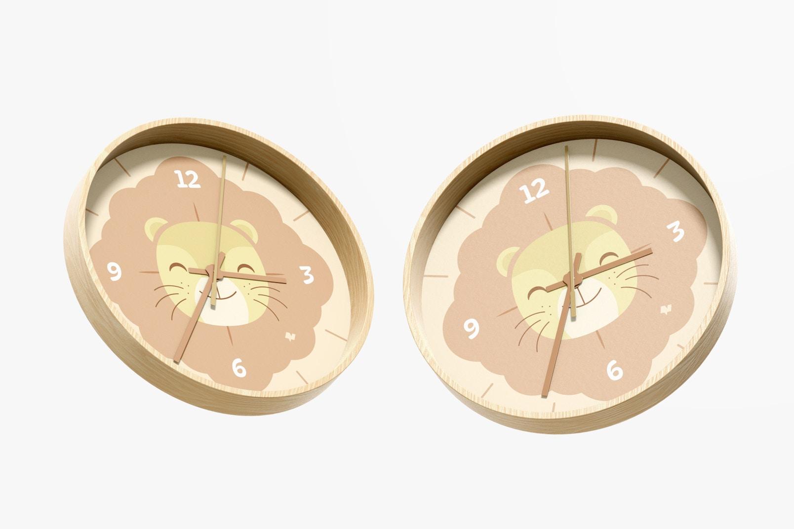Wall Clock Mockup, Floating
