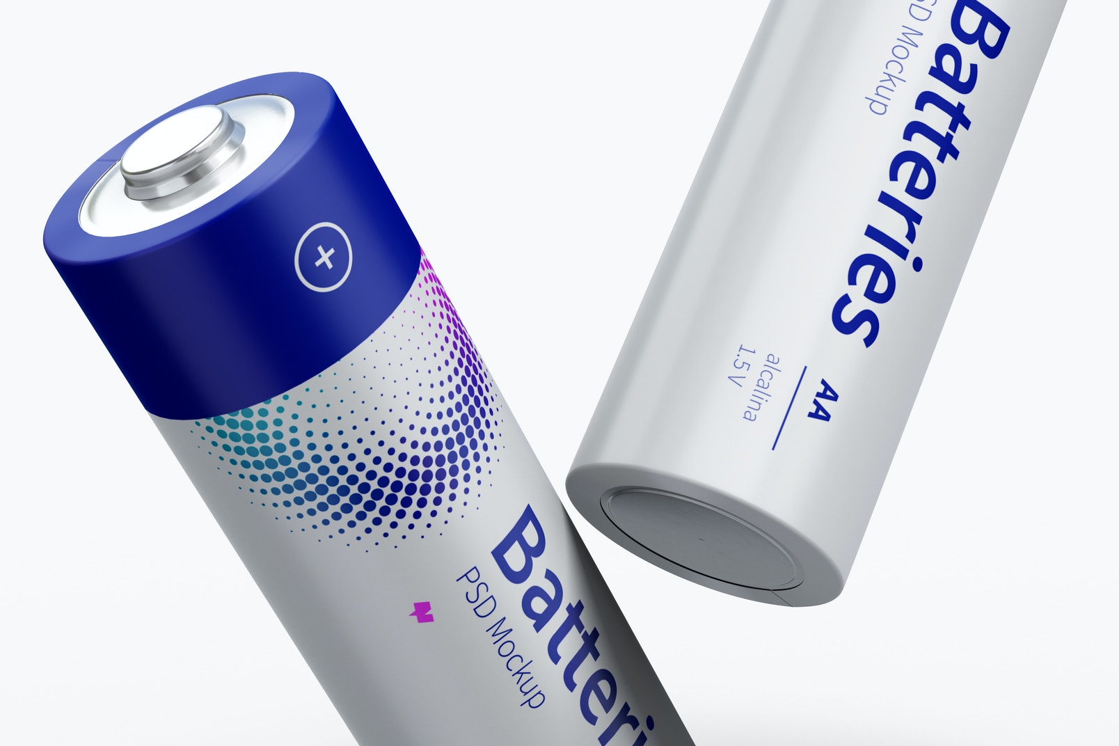 Two AA Batteries Mockup, Close-up