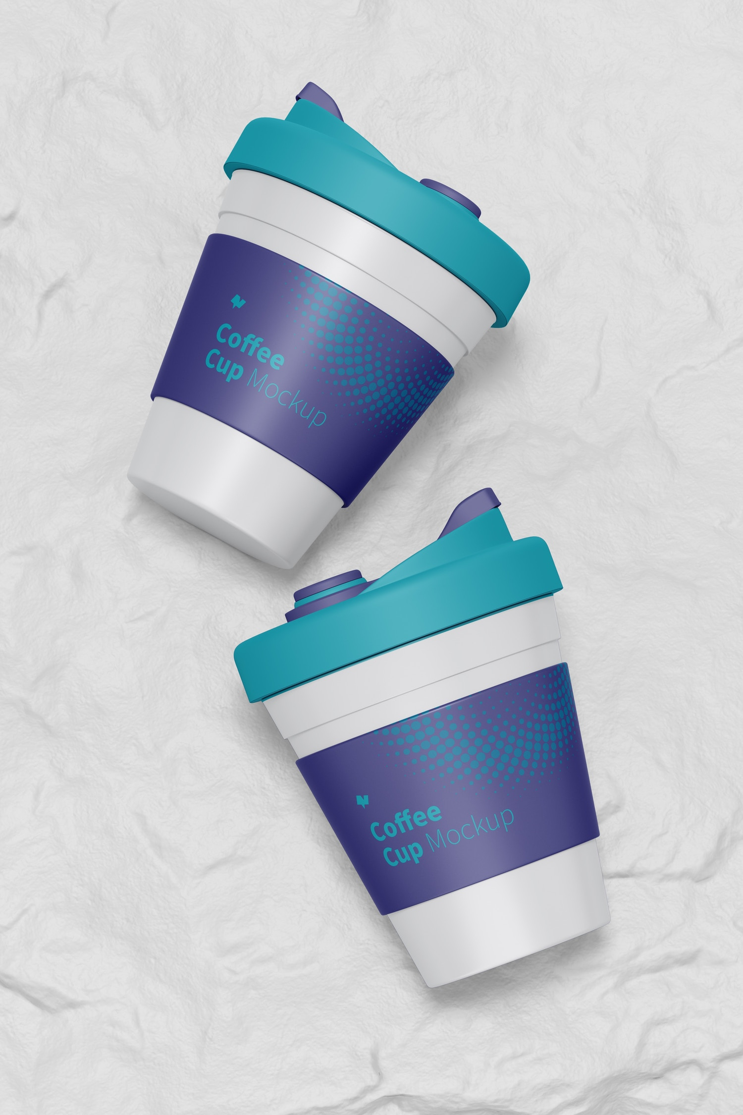 Coffee Cup with Lid Mockup, Top View
