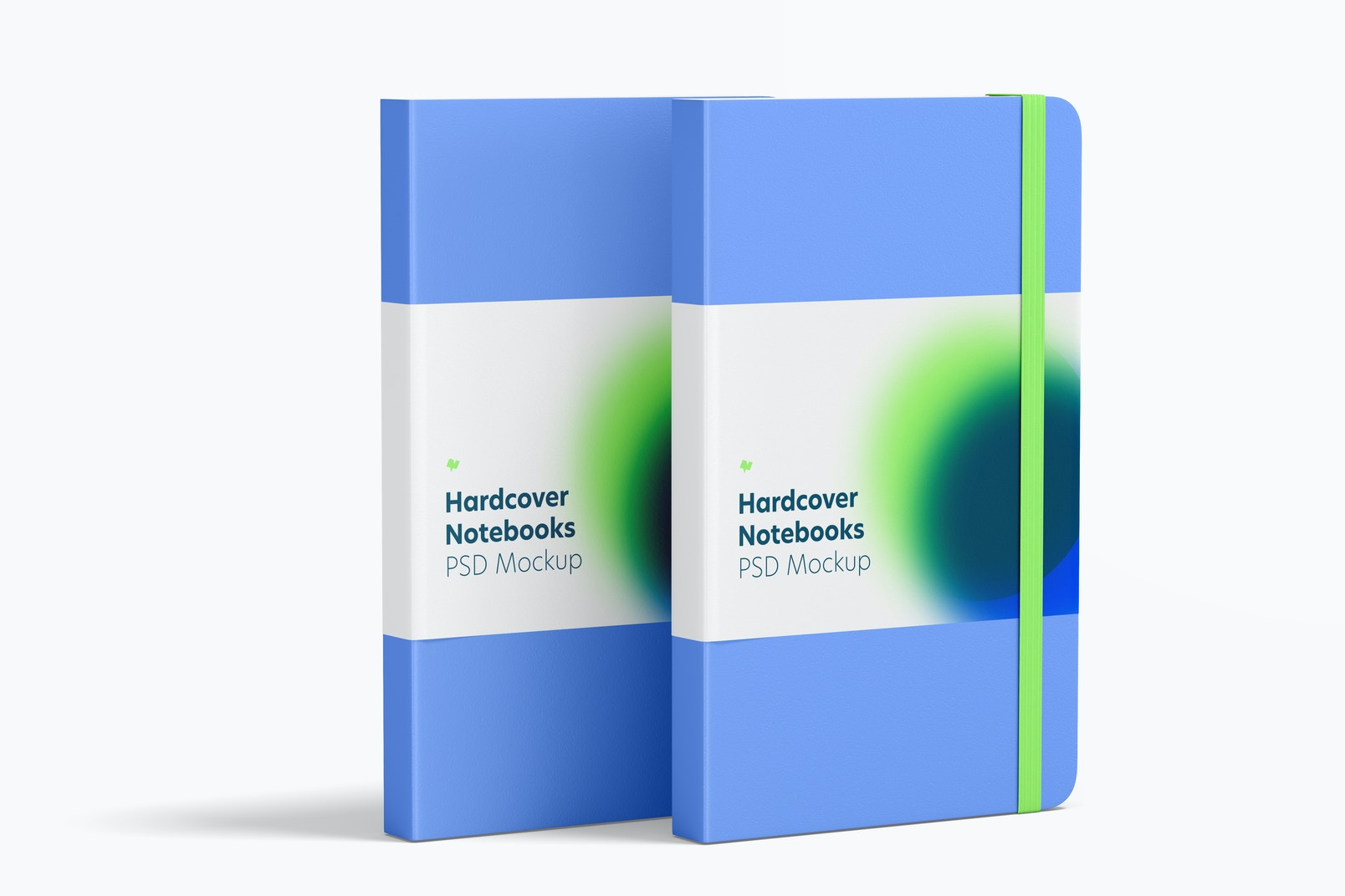 Hardcover Notebooks with Elastic Band Mockup, Left View
