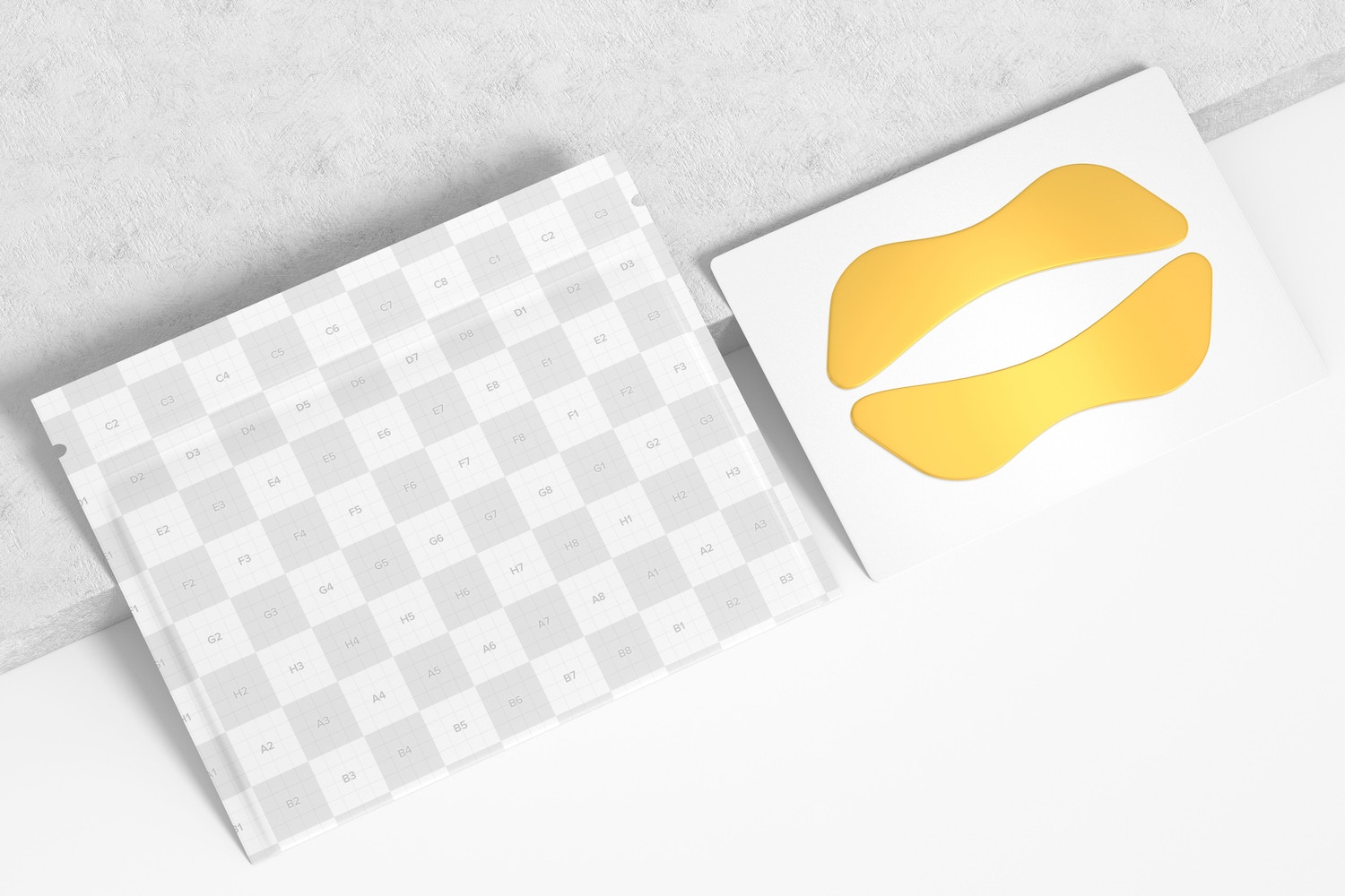 Lip Gel Patches Packaging Mockup, Perspective View