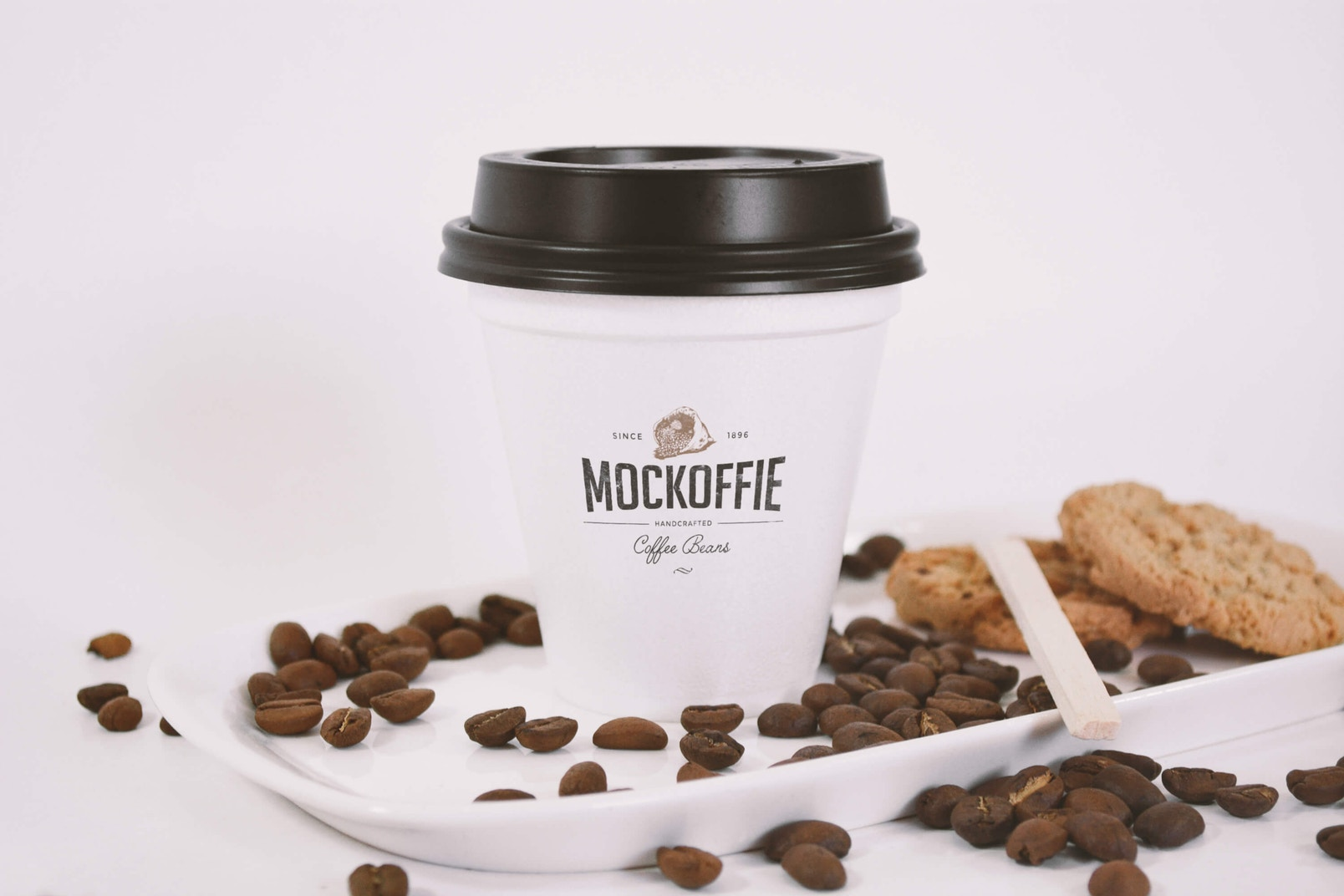 Sealed Coffee Cup Mockup With Cookies