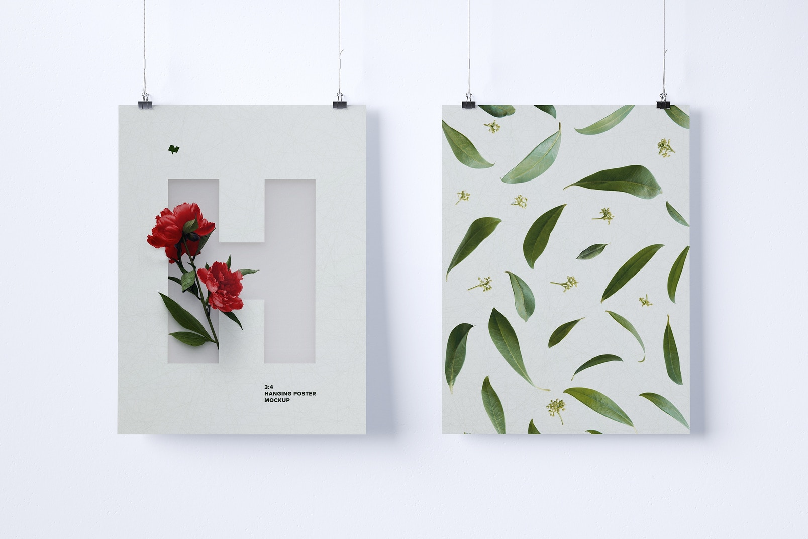 Two 3:4 Portrait Hanging Posters Mockup
