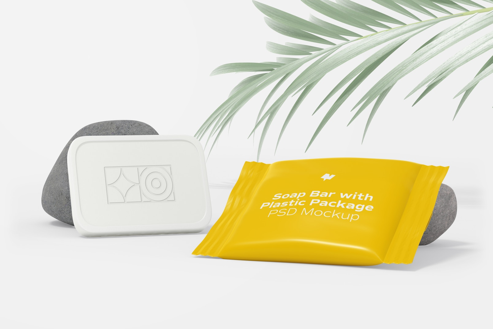 Soap Bar with Plastic Package Mockup, Perspective View