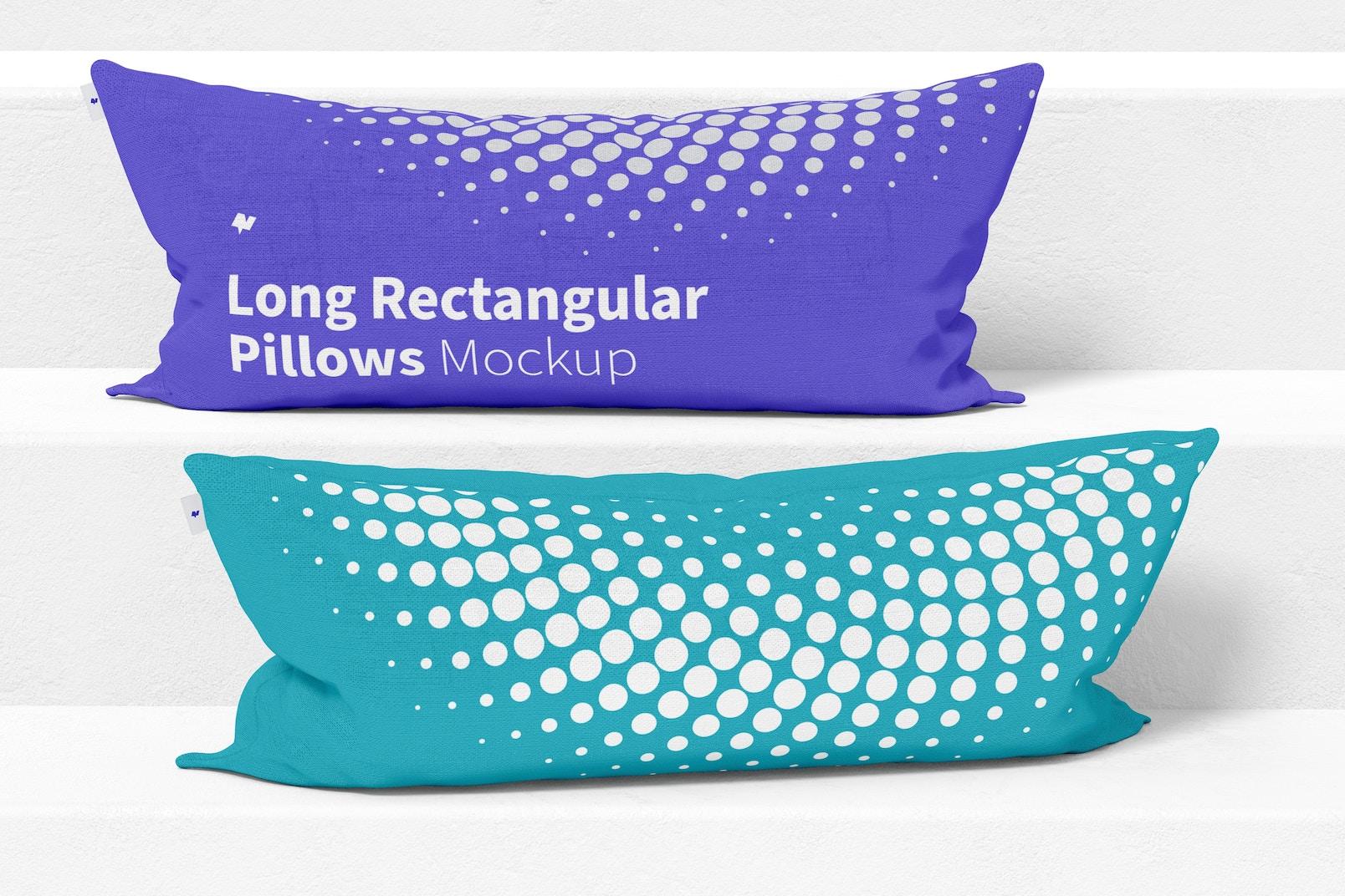 Long Rectangular Pillows Mockup, Front View