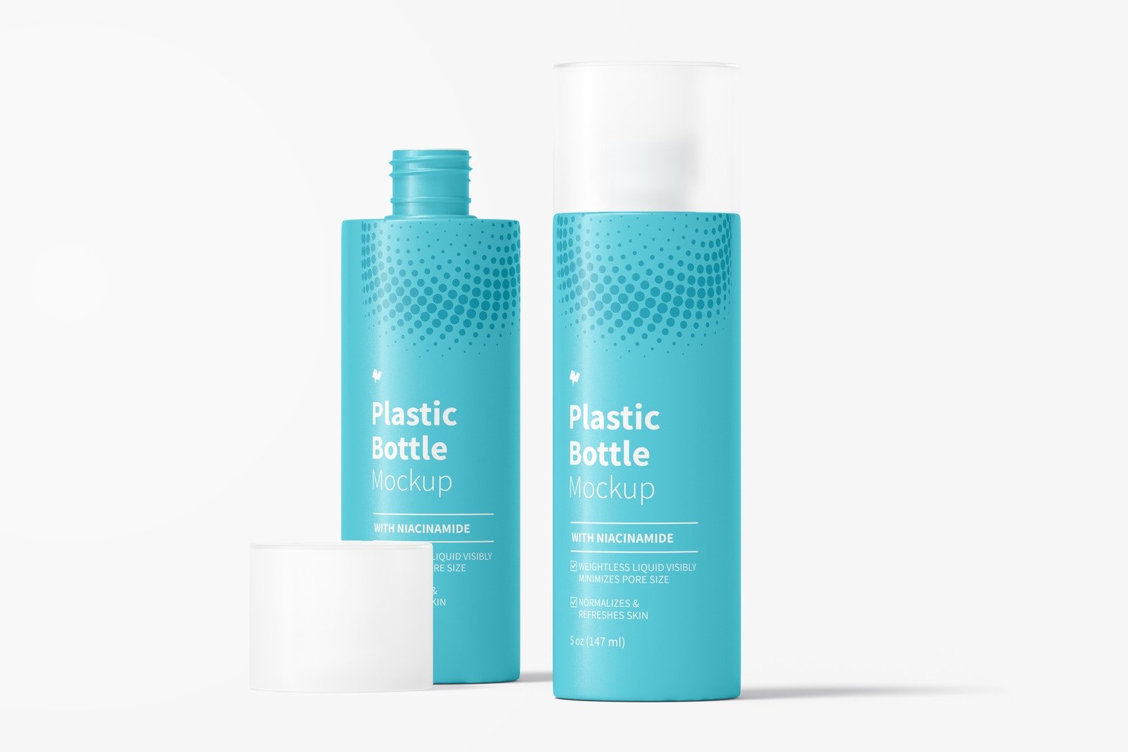 5 oz Plastic Bottles Mockup, Opened and Closed