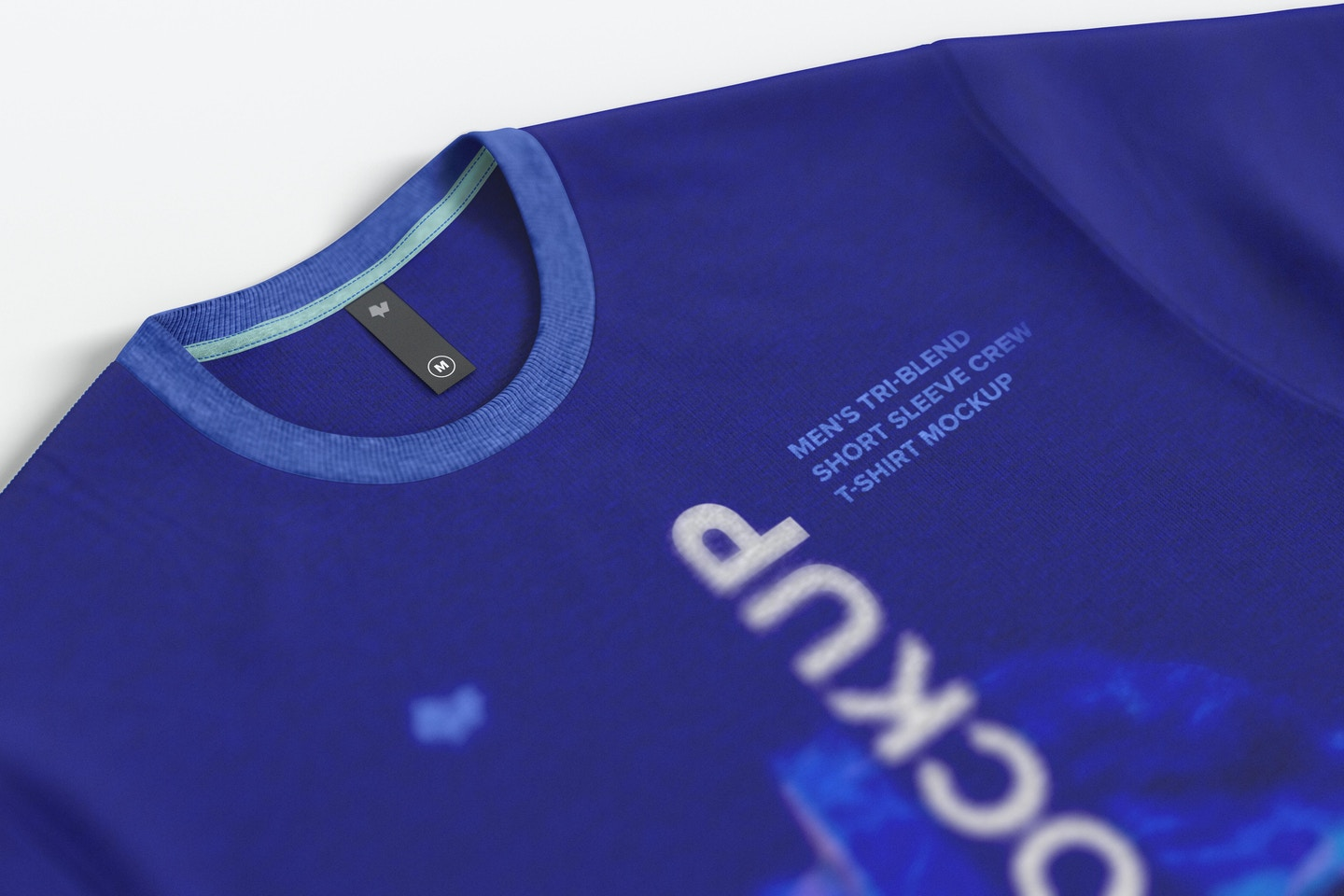 Thin Label Mockup on Men's Tri-Blend Rounded Neck T-Shirt, Close-Up