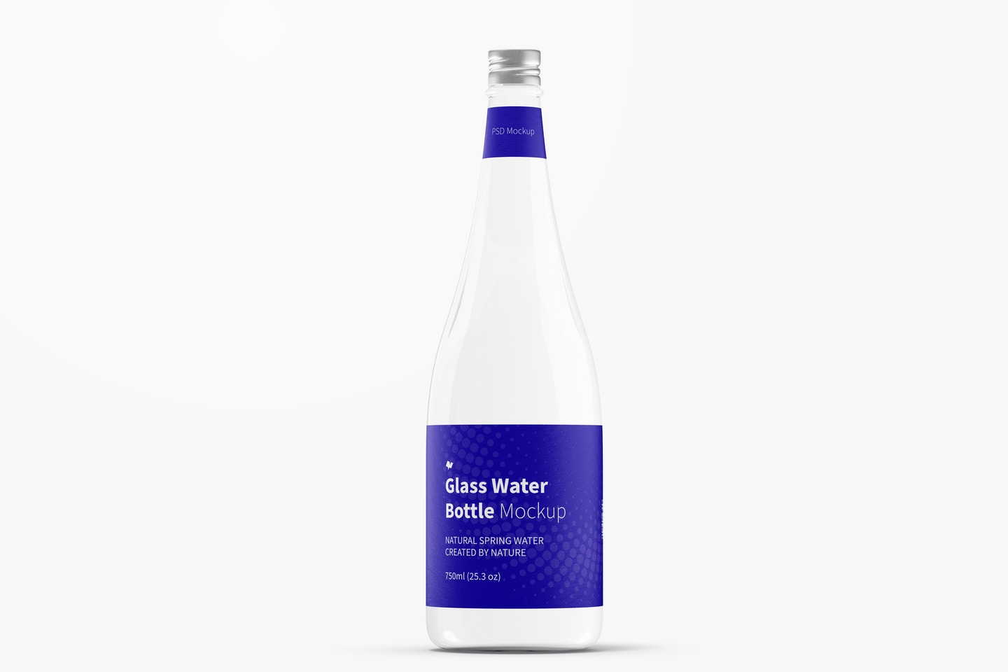Glass Water Bottle Mockup, Front View
