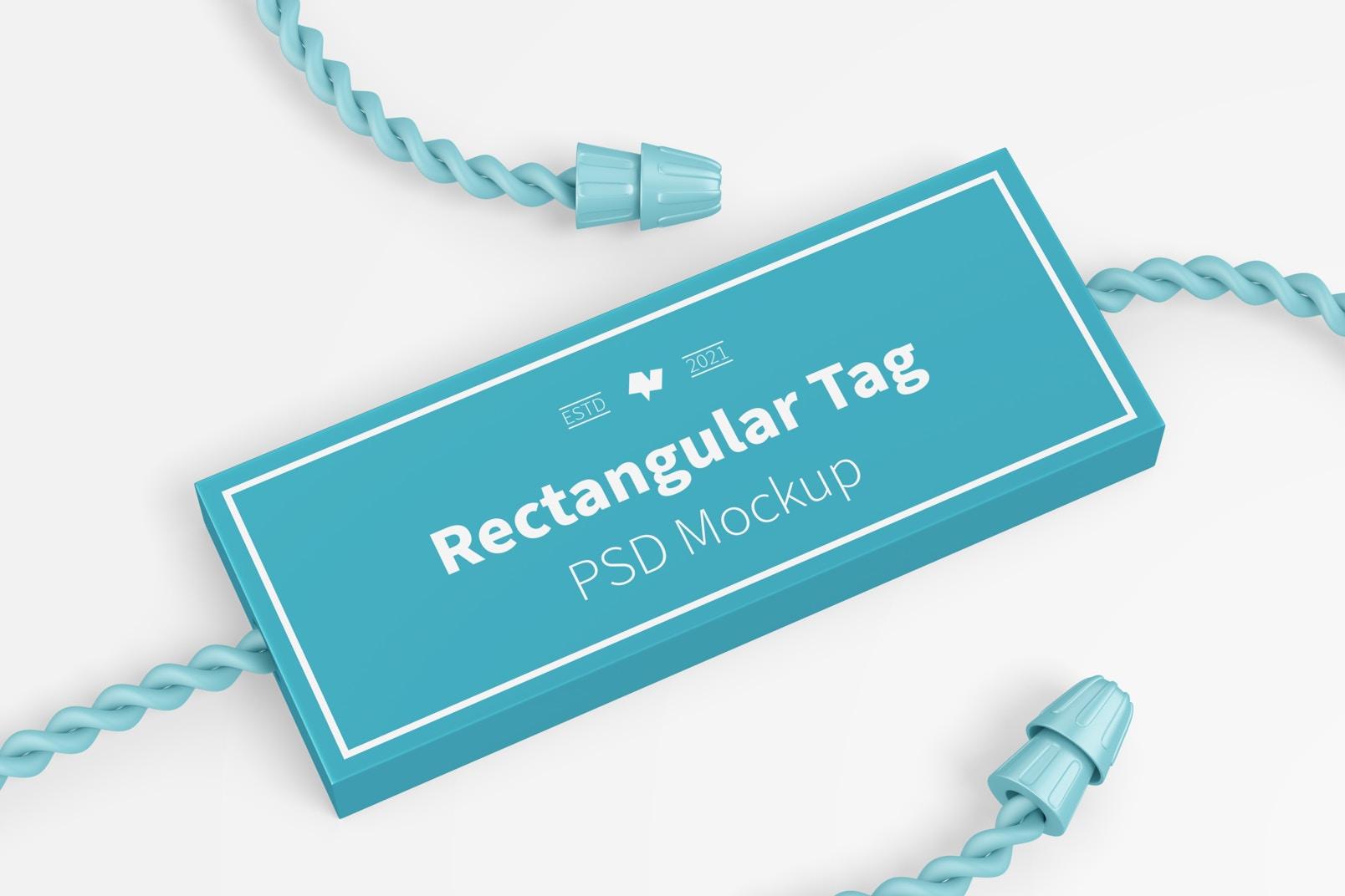Rectangular Textile Tag Mockup, Close Up