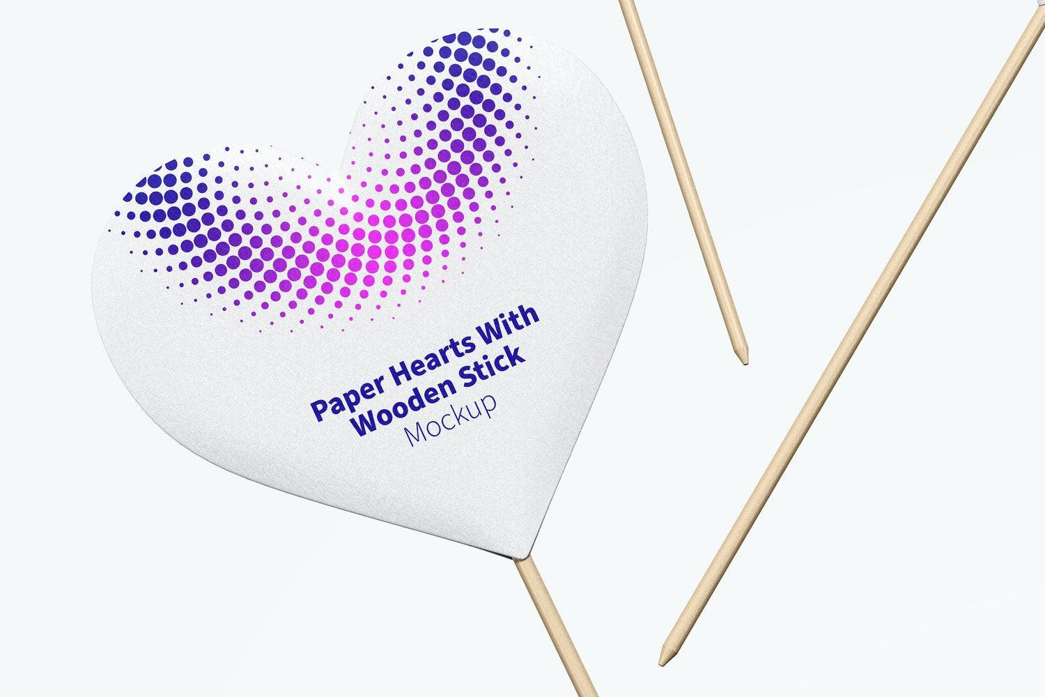 Paper Hearts With Wooden Stick Set Mockup, Falling