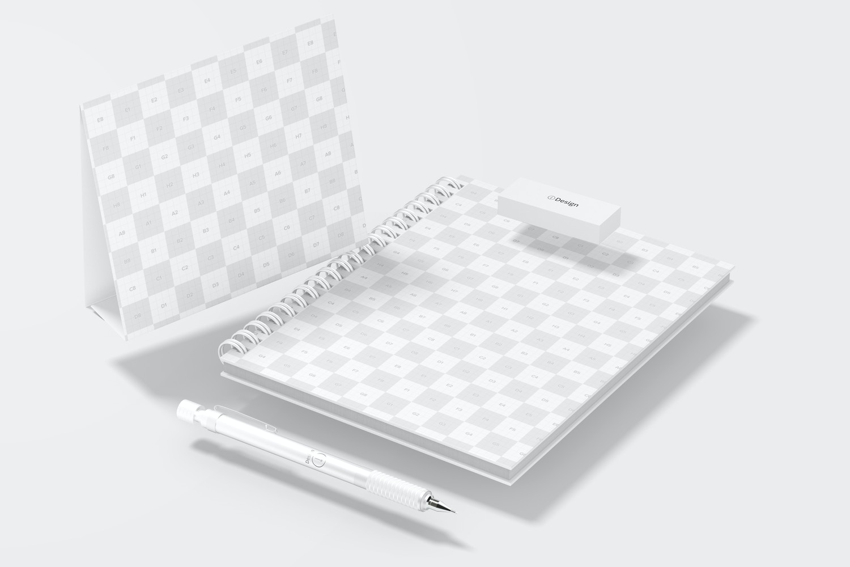 Wire Bound Notepad Scene Mockup, Floating