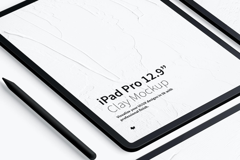 "Clay iPad Pro 12.9"" Mockup, Grid Layout (3) by Original Mockups on Original Mockups"