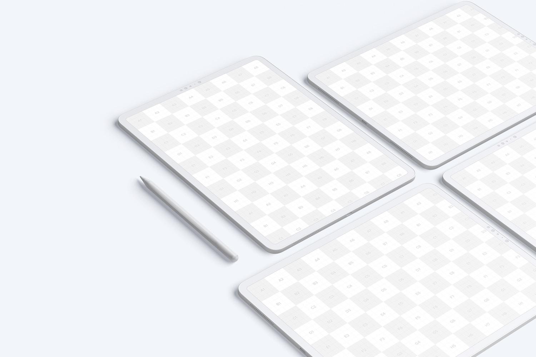 "Clay iPad Pro 12.9"" Mockup, Grid Layout (2) by Original Mockups on Original Mockups"