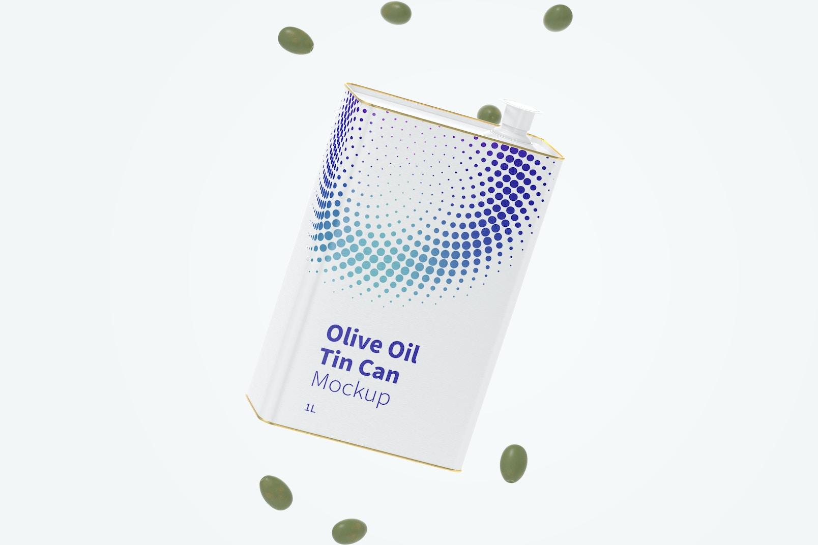1 Liter Olive Oil Rectangular Tin Can Mockup, Floating