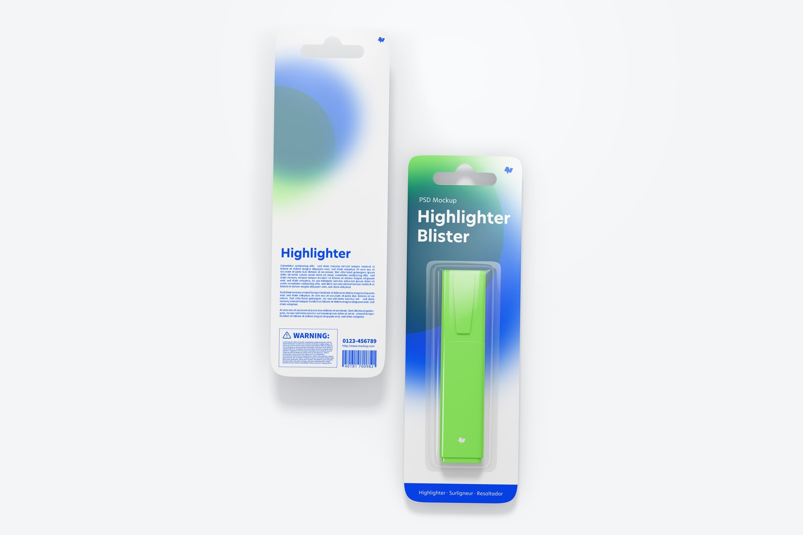 Highlighters Blisters Mockup, Front and Back View