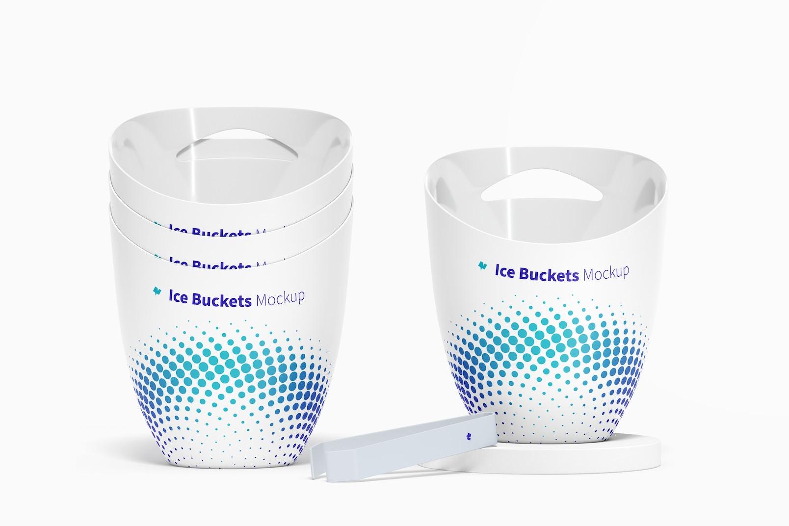 Ice Buckets Mockup, Stacked Set