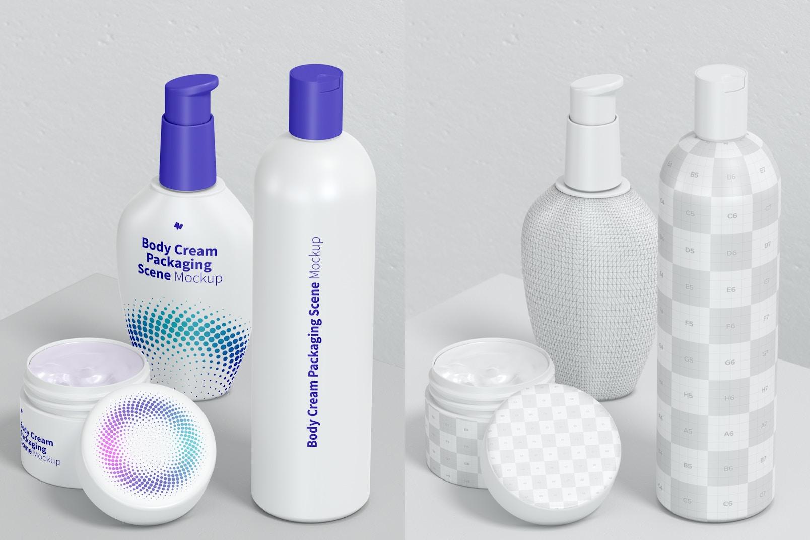 Body Cream Packaging Scene Mockup 02